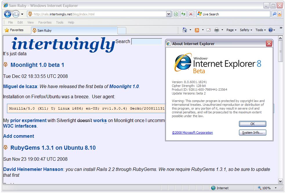 Sam Ruby: HTML5 in Gecko